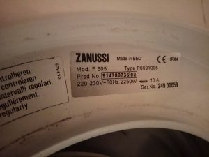 Шильдик стиральной машины Zanussi